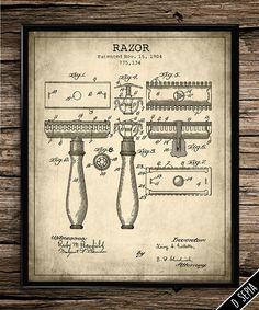 Vintage patent gillette razor patent print by UniquelyGiftedArt