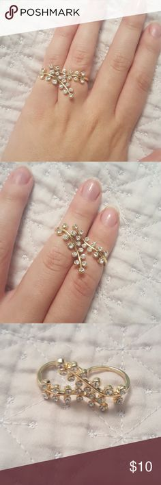 Gold and silver connected leaf ring! Size 7 ish, never worn. The two rings are connected so you can wear them either as a midi ring or on two fingers of your choosing. It's too small for me which is why it looks a little squished. Can be worn which ever side up Jewelry Rings