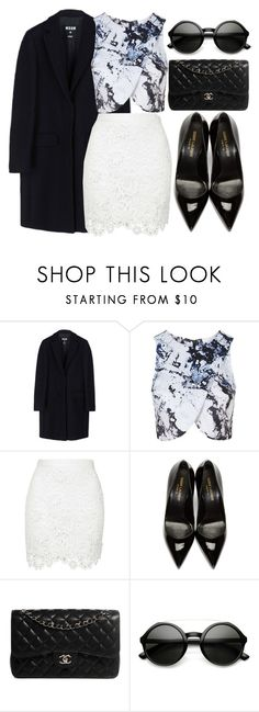 """""""609"""" by laurie-hooope ❤ liked on Polyvore featuring MSGM, Topshop, Yves Saint Laurent and Chanel"""