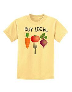 TooLoud Buy Local - Vegetables Design Childrens T-Shirt