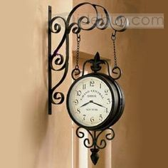 Mediterranean Wrought Iron Wall Clocks Michelle this is for you! Wrought Iron Wall Decor, Wall Clock Online, Tuscan Decorating, Iron Work, House Wall, Decoration, Home Accessories, Shabby Chic, Sweet Home