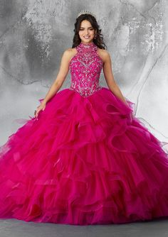 Beaded Embroidery on a Pleated and Flounced Tulle Ballgown Fun and Feminine, This Quinceañera Ballgown Beautifully Combines a High Halter, Fully Beaded Bodice and a Ruffled Tulle Skirt. Quince Dresses, 15 Dresses, Pretty Dresses, Beautiful Dresses, Fashion Dresses, Mori Lee Quinceanera Dresses, Princess Ball Gowns, Satin Tulle, Special Occasion Dresses