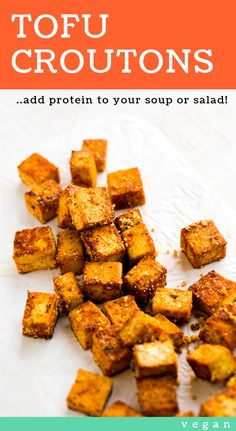 Tofu Croutons - easy vegan salad topper #recipe Vegetarian Meal Prep, Vegetarian Recipes, Salad Toppings, Nutritional Yeast Recipes, Tofu Salad, Vegan Coleslaw, Tofu Recipes, Appetizer Recipes, Salad Ideas