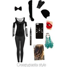 creepypasta wear by laineybug05 on Polyvore featuring Topshop, Fahrenheit, Roeckl, Forever 21, Charlotte Tilbury and Maybelline