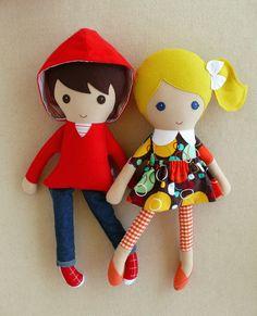 Reserved for Tiffany Four Fabric Dolls Rag Dolls by rovingovine