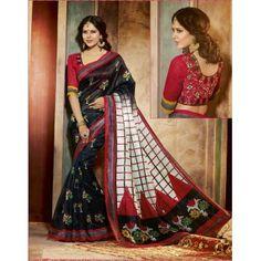 Designer Bhagalpuri Black Color Maheshwari Silk Saree