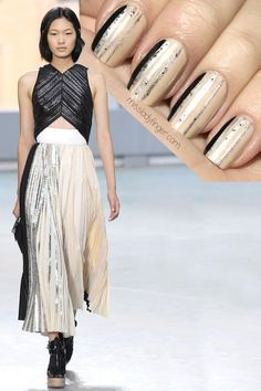 Silver-foiled pleated skirts at the Proenza Schouler Spring '14 show inspired Taryn from Miss Ladyfinger to create this dainty nail design. To get the look, start with a nude nail. Then use a nail striper and silver polish to draw skinny vertical lines on each nail, and make sure to slightly stagger them. For added sparkle, use a silver glitter polish to go over those same lines. Add a thicker black line to one edge of each nail, and finish off with a topcoat.