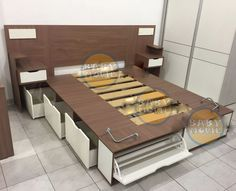 cama 2 plazas c/ respaldo y mesa de luz multifuncion cajones Wardrobe Design Bedroom, Bedroom Bed Design, Small Bedroom Designs, Bedroom Furniture Design, Wood Bedroom, Bed Furniture, Home Decor Furniture, Living Room Designs, Bed Designs With Storage