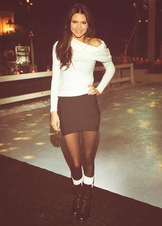 black skirt, pattern tights, combat boots