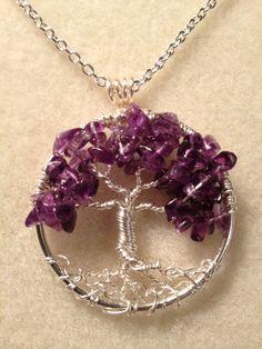 Amethyst Tree of Life -Handmade Jewelry Pendant Locket Celtic Spirit Gemstones Wire Wrapped Trees Custom by Just4FunDesign. $27,00, via Etsy.