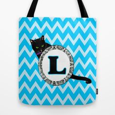 L Cat Chevron Monogram Tote Bag blue
