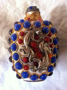 Stunning Vintage Multi Stone Snuff Bottle with Silver by czarchild,