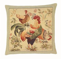 Country Hens - Fine Woven Tapestry Cushion Fine Woven Tapestry Cushion finished with luxurious British velvet back Cushion made in England by Hines