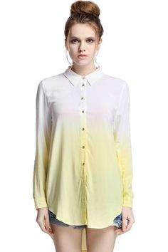 ROMWE | Asymmetric Hem Yellow Shirt, The Latest Street Fashion