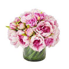 Creative Displays, Inc. Faux Magenta & Pink Peony Floral Arrangement in Glass Vase Hortensien Arrangements, Peony Arrangement, Peonies Centerpiece, Silk Flower Arrangements, Centerpieces, Peonies And Hydrangeas, Hydrangea Not Blooming, Silk Peonies, Magenta