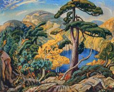 Arthur Lismer Bright Land Pine Tree Canada Landscape Counted Cross Stitch or Counted Needlepoint Pattern Canada Landscape, Landscape Art, Landscape Paintings, Oil Paintings, Tom Thomson, Emily Carr, Canadian Painters, Canadian Artists, Group Of Seven Artists