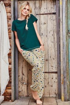 Buy Green Star Print Pyjamas online today at Next: Mexico Cute Pajama Sets, Cute Pajamas, Cute Comfy Outfits, Trendy Outfits, Cool Outfits, Night Suit For Women, Pijamas Women, Sunday Outfits, Lounge Outfit