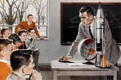 A high school teacher discussing space travel with his students (from a 1959 Metropolitan life insurance ad).