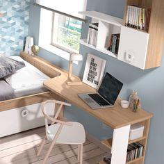 escritorio madera y blanco Small Room Decor, Small Room Design, Small Room Bedroom, Small Rooms, Home Office Space, Home Office Design, Kids Bedroom Furniture, Bedroom Decor, Bedroom Workspace