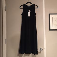 Eileen Fisher Tencel Sundress - BNWT Black Sundress - BRAND NEW! It will be warm again someday :) cute detailing at the chest. Eileen Fisher Dresses Maxi