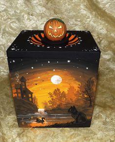 Hand Painted Wood Vintage Box Black Cat Witch Magic River Halloween Folk Art NR #Realism