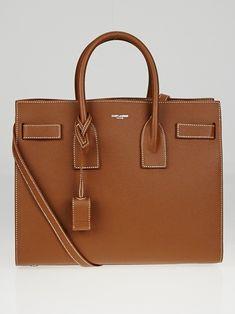 1e4cbc05173c92 Yves Saint Laurent Brown Pebbled Leather Small Sac de Jour Tote Bag