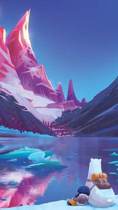 Cartoon-Art-Polar-Bear-Snow-Mountain-Lake-iPhone-Wallpaper - iPhone Wallpapers