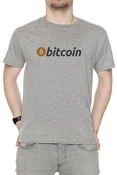 Bitcoin Herren T-Shirt Rundhals Grau Kurzarm Größe S Men's Grey Small Size S