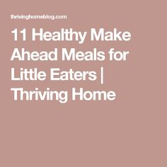 11 Healthy Make Ahead Meals for Little Eaters | Thriving Home