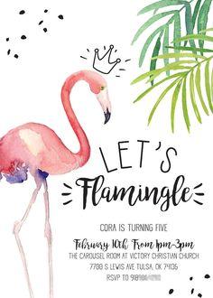 """Let's Flamingle"" Flamingo Party Invite from a PPink Flamingo Birthday Party on Kara's Party Idea | KarasPartyIdeas.com (14)"