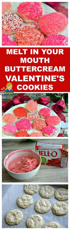 MELT IN YOUR MOUTH BUTTERCREAM ICED VALENTINE'S COOKIES -These Valentine's Cookies are made with four ingredients which are butter, sugar, flour, and cornstarch.  These cookies melt in your month.  The buttercream is colored with Jello which makes it incredibly tasty. SEE RECIPE: http://recipesforourdailybread.com/buttercream-valentines-cookies/
