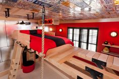 Climbing wall bedroom for boys. How amazing is this room?