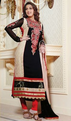 Bollywood Diva Sonali Bendre Georgette Churidar Suit Price: Usa Dollar $115, British UK Pound £68, Euro85, Canada CA$123 , Indian Rs6210.