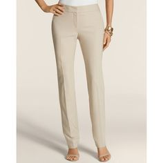 Chico's So Slimming City Chic Straight Pants ($70) ❤ liked on Polyvore featuring pants, new khaki, zipper pants, tall khaki pants, slim khaki pants, straight leg pants and khaki pants