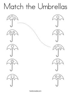 Match the Umbrellas Coloring Page - Twisty Noodle Activities For 5 Year Olds, Preschool Learning Activities, Color Activities, Preschool Activities, Free Preschool, Coloring Pages Nature, Coloring Pages For Kids, Kindergarten Math Worksheets, Worksheets For Kids