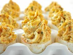 Heavenly Deviled Eggs A twist on classic deviled eggs, this creamy and rich recipe includes savory bacon, cheese and onion.A twist on classic deviled eggs, this creamy and rich recipe includes savory bacon, cheese and onion. Easy Potluck Recipes, Bacon Recipes, Egg Recipes, Appetizer Recipes, Cooking Recipes, Potluck Ideas, Easter Recipes, Potluck Appetizers, Antipasto