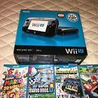 Nintendo Wii U Console - 32GB Black Deluxe Set - w/ 7 Games - Zelda Mario Kart