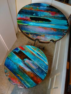 colorfully painted table or reclaimed wood wall art whimsical round table top bistro table painted furniture rustic Boho trashstudio Reclaimed Wood Table Top, Round Wood Table, Reclaimed Doors, Reclaimed Wood Wall Art, Round Table Top, Barn Wood, Wood Art, Wood Tables, Pub Tables