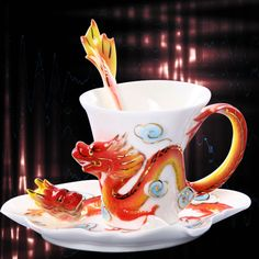 Porcelain Ceramic China Imperial Red Dragon Coffee Tea Set Sauce Spoon+Gift Box
