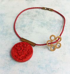 Necklace ref.311-28-5 -  Red medallion with a cherry tree, double side -brass flower -asymmetric - leather - short necklace - jewelry gift by carlaamaro on Etsy