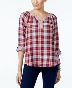 Style & Co Petite Cotton Plaid Peasant Top, Only at Macy's - Purple P/XL