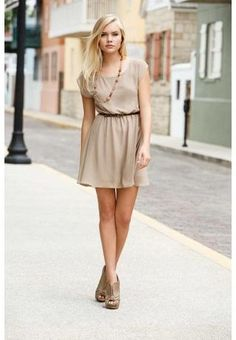 adorable beige casual dress with belt from body central Spring Summer Fashion, Spring Outfits, Swing Dress, Dress Up, Affordable Dresses, Cool Outfits, Chiffon, Summer Dresses, Summer Clothes