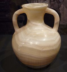 Cremation urn created from a single block of alabaster. From the necropolis of Porta Nocera, Pompeii.