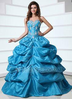 Duchesse-Linie Herzausschnitt Bodenlang Taft Quinceañera Kleid (Kleid für die Geburtstagsfeier) mit Rüschen Perlen verziert Applikationen Spitze Pailletten (021017390) - JJsHouse