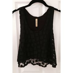 Sheer Geometric Pattern Crop Top This is a perfect piece for your closet! It goes with any outfit and the subtle pattern gives it that added eye catching flare! It comes lined with a small black tank top underneath and is a size medium, but it fits perfectly as a small as well (it depends how cropped you want to wear it). Tops Crop Tops