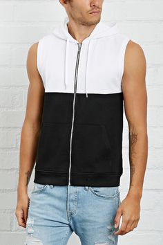 A sleeveless zip-up hoodie in a midweight knit featuring a colorblocked design and split kangaroo pockets. Forever 21 Men, Boho Summer Outfits, Sleeveless Shirt, Calvin Klein Jeans, Men Dress, Zip Ups, Latest Trends, Menswear, Man Shop