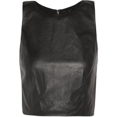 Alice + Olivia Lorita cropped leather-paneled mesh tank ($198) ❤ liked on Polyvore featuring tops, crop tops, shirts, black, leather crop top, crop shirt, mesh shirt, mesh tops and mesh crop top