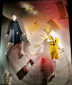 Lanvin on the Wall - A Bergdorf Goodman window display featuring paintings by John Gauld.