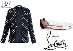The perfect combo for creating a fresh Summer outfit. DVF Navy Studded Paulette Blazer and Christian Laboutin Corbeau leather and pvc dual colour pumps.