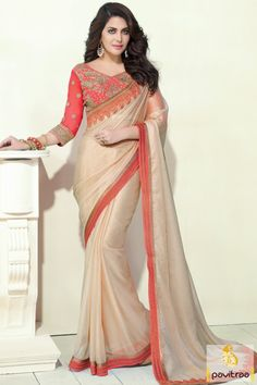 New fashion style beige orange color dhupion chiffon net saree for all the modern women in India. This fancy look party wear saree comes in lowest price range #saree, #partywearsaree more: http://www.pavitraa.in/store/party-wear-saree/